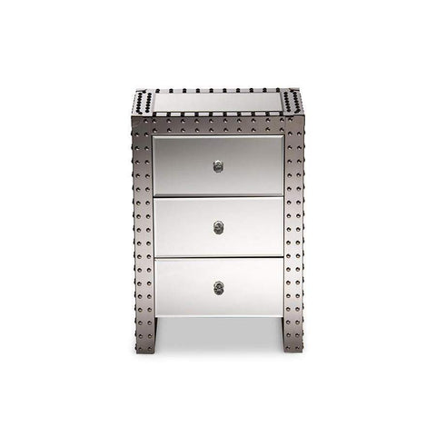 Baxton Studio Azura Modern and Contemporary Hollywood Regency Glamour Style Nightstand Bedside Table - LD2470-Nightstands-Floor Mirror Gallery