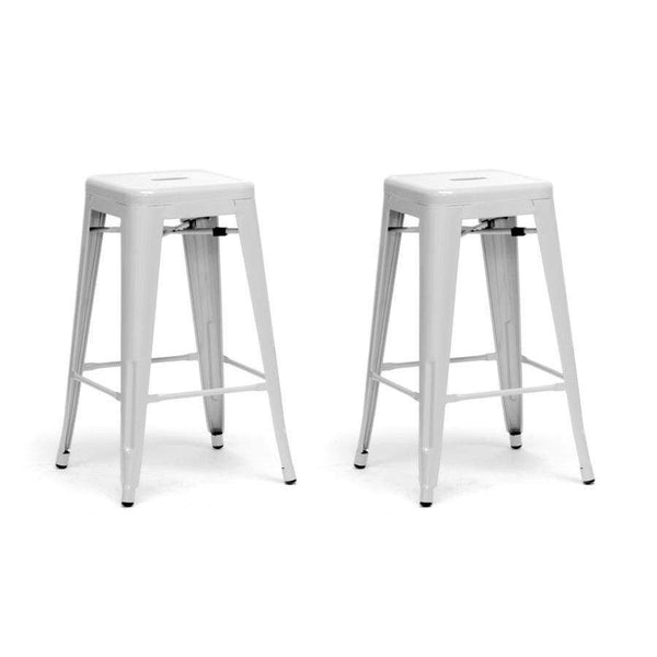 Baxton Studio French Industrial Modern Counter Stool in White - M-94115-26-White-PSTL-Bar Stools-Floor Mirror Gallery
