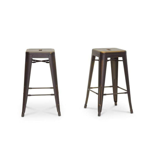 Baxton Studio French Industrial Modern Counter Stool in Antique Copper - M-94115-26AC-BS-Bar Stools-Floor Mirror Gallery