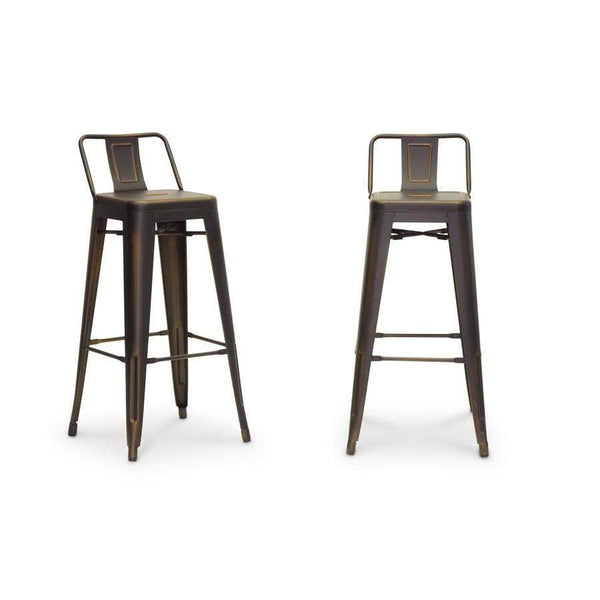 Baxton Studio French Industrial Modern Bar Stool in Antique Copper - M-94115X-30AC-BS-Bar Stools-Floor Mirror Gallery