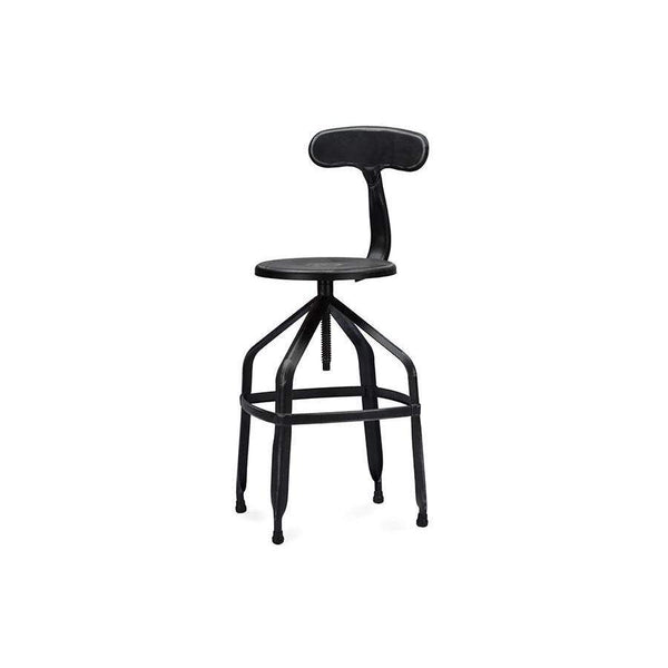 Baxton Studio Architect's Industrial Bar Stool with Backrest in Antique Black - M-94137X-30-Antique Black-BS-Bar Stools-Floor Mirror Gallery
