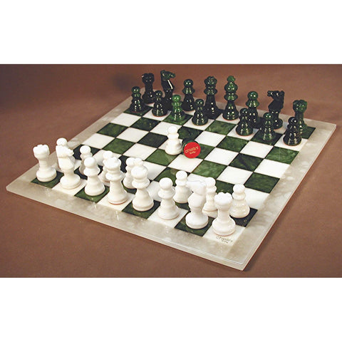 Green & White Alabaster Chess Set, Scali, Italy, MF1GN, by WorldWise Imports-Chess Set-Floor Mirror Gallery