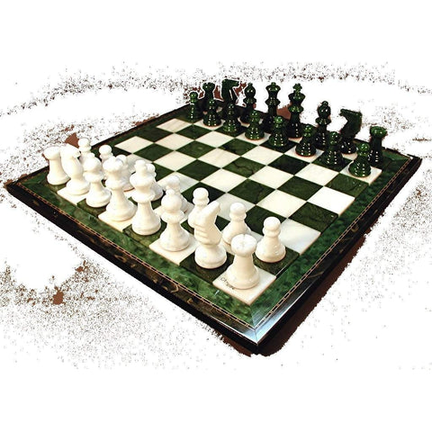 GReen & White Alabaster wood frame set, Scali, Italy, NS155GN, by WorldWise Imports-Chess Set-Floor Mirror Gallery
