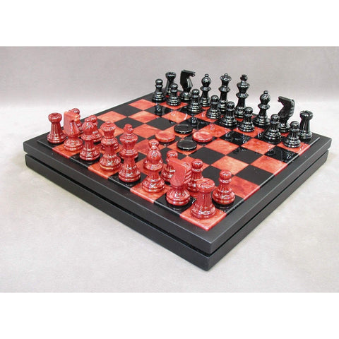 Red & Black Alabaster Chest, Scali, Italy, NS34RB, by WorldWise Imports-Chess Set-Floor Mirror Gallery