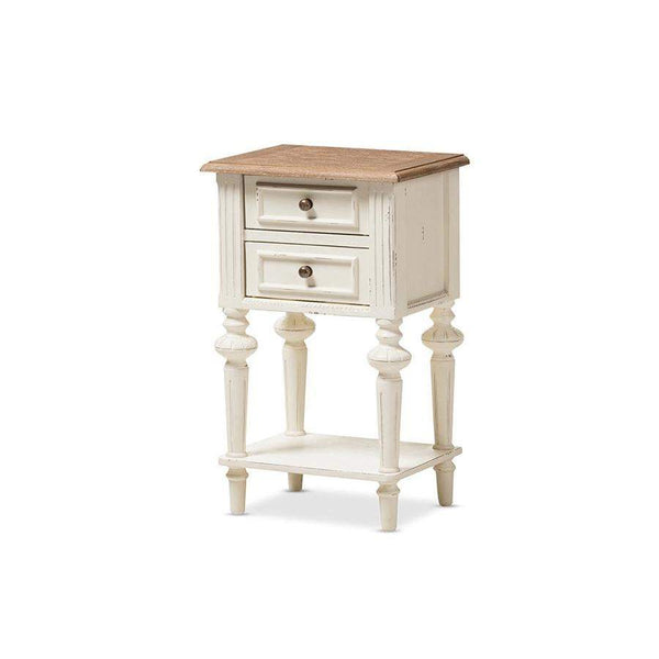 Baxton Studio Marquetterie French Provincial Style Weathered Oak and White Wash Distressed Finish Wood Two-Tone 2-Drawer and 1-Shelf Nightstand - PRL8VM(AR)/M B-Nightstands-Floor Mirror Gallery