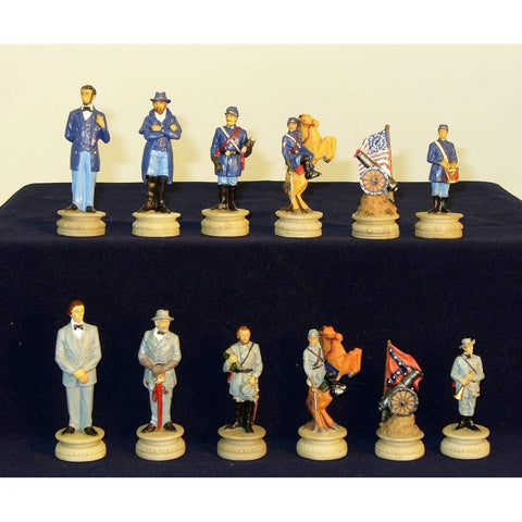 Civil War Generals Painted Resin Men, Royal Chess, China, R1861, by WorldWise Imports-Chessmen-Floor Mirror Gallery
