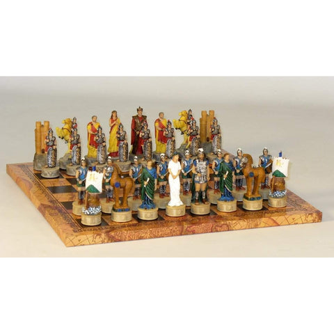 Troy vs Sparta on Map Board, Royal Chess, China-Italy, R72048-MAP, by WorldWise Imports-Chess Set-Floor Mirror Gallery