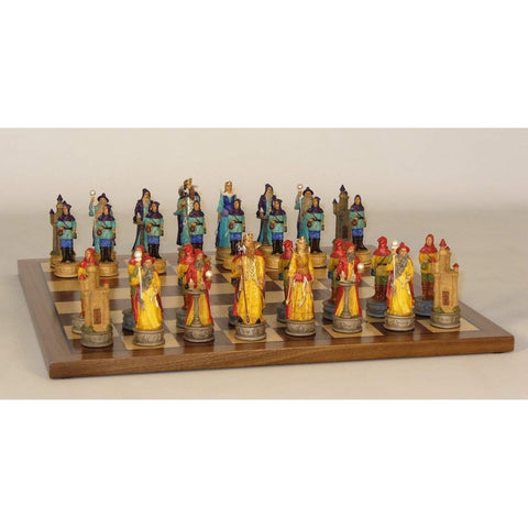 Sorcerer Resin men on Wlnt/Maple Brd, Royal Chess, China, R73711-WC14, by WorldWise Imports-Chess Set-Floor Mirror Gallery
