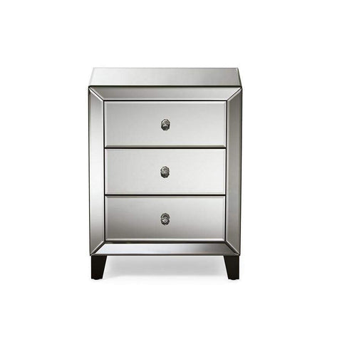 Baxton Studio Chevron Modern and Contemporary Hollywood Regency Glamour Style Mirrored 3-Drawers Nightstand Bedside Table - RS1155-Nightstands-Floor Mirror Gallery