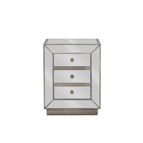 Baxton Studio Currin Contemporary Mirrored 3-Drawer Nightstand - RS2102-Nightstands-Floor Mirror Gallery