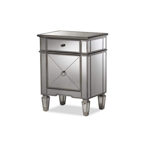 Baxton Studio Claudia Hollywood Regency Glamour Style Mirrored Nightstand - RS2403-Nightstands-Floor Mirror Gallery