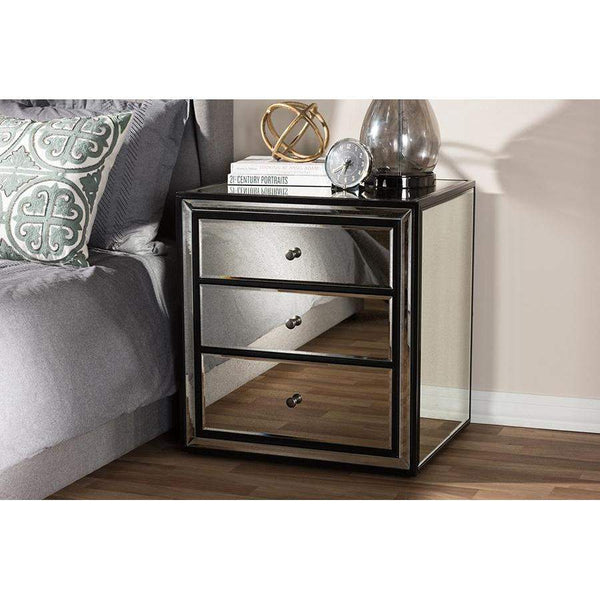 Baxton Studio Avatar Art Deco Style 3-Drawer Mirrored Nightstand - RS2654-Nightstands-Floor Mirror Gallery