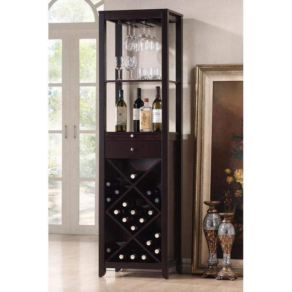 Baxton Studio Austin Brown Wood Modern Wine Tower - RT190-OCC-Wine Cabinets-Floor Mirror Gallery
