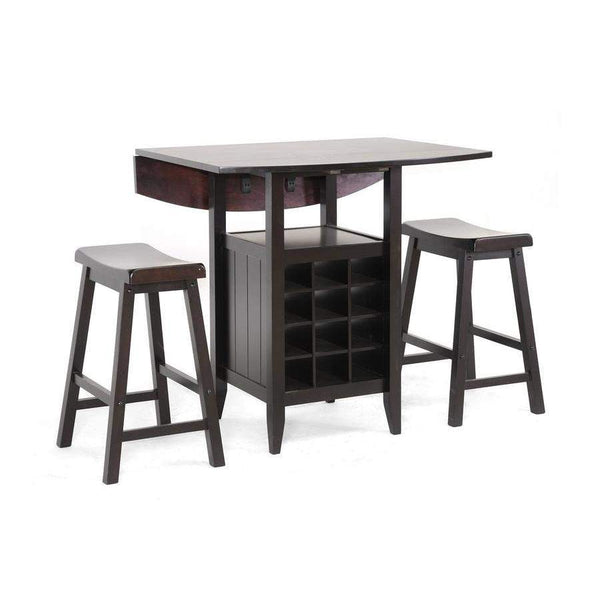 Baxton Studio Reynolds Black Wood 3-Piece Modern Drop-Leaf Pub Set with Wine Rack - RT227-Pub Stool Set-Pub Sets-Floor Mirror Gallery