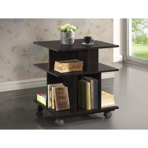Baxton Studio Warren Dark Brown Wheeled Modern Storage Shelf - RT247-OCC (L)-Coffee, Accent Tables-Floor Mirror Gallery