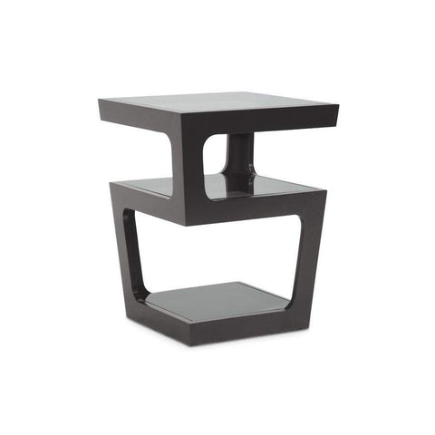 Baxton Studio Clara Black Modern End Table with 3-Tiered Glass Shelves - RT286-OCC (CT-089B-Black)-Coffee, Accent Tables-Floor Mirror Gallery