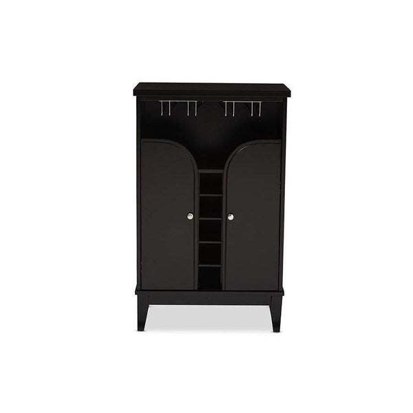 Baxton Studio Easton Modern and Contemporary Dark Brown Wood Modern Dry Bar and Wine Cabinet - RT378-OCC-Wine Cabinets-Floor Mirror Gallery