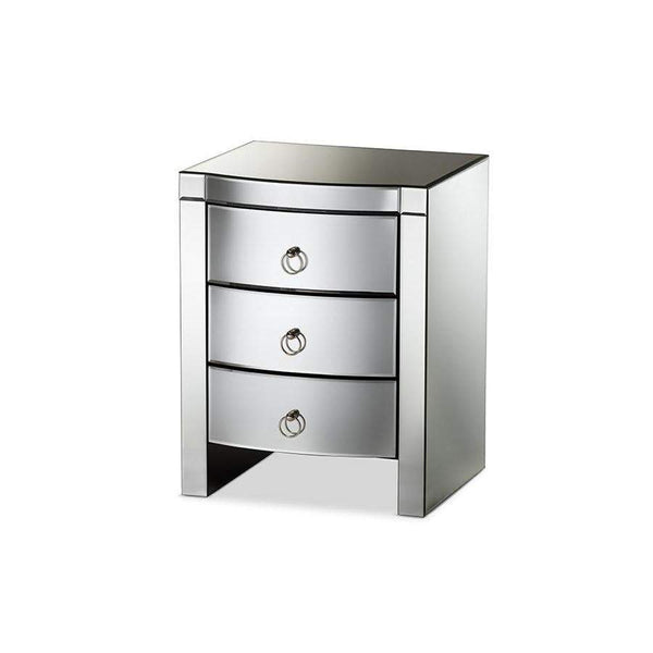 Baxton Studio Florence Hollywood Regency Glamour Style Mirrored 3-Drawer Nightstand - RXF-612-Nightstands-Floor Mirror Gallery