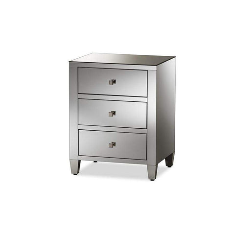 Baxton Studio Rosalind Hollywood Regency Glamour Style Mirrored 3-Drawer Nightstand - RXF-645-Nightstands-Floor Mirror Gallery