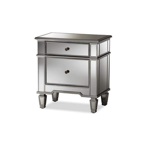 Baxton Studio Sussie Hollywood Regency Glamour Style Mirrored 2-Drawer Nightstand - RXF-680-Nightstands-Floor Mirror Gallery