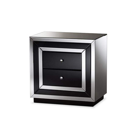 Baxton Studio Cecilia Hollywood Regency Glamour Style Mirrored 2-Drawer Nightstand - RXF-721-Nightstands-Floor Mirror Gallery