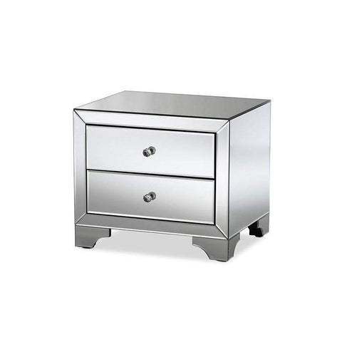Baxton Studio Farrah Hollywood Regency Glamour Style Mirrored 2-Drawer Nightstand - RXF-782-Nightstands-Floor Mirror Gallery