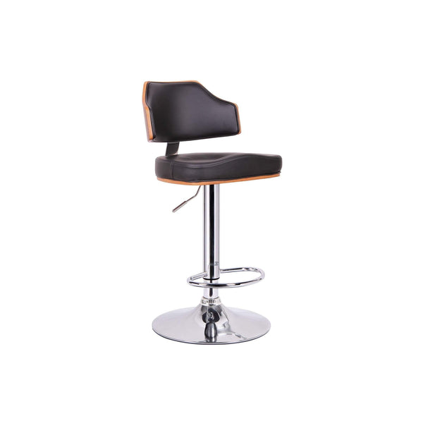 Baxton Studio Cabell Walnut and Black Modern Bar Stool - SD-2159-walnut/black-PSTL-Bar Stools-Floor Mirror Gallery