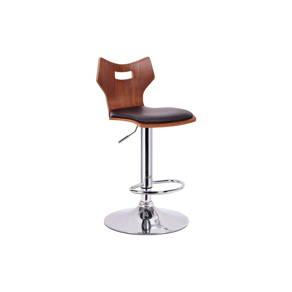 Baxton Studio Amery Walnut and Black Modern Bar Stool - SD-2172-walnut/black-PSTL-Bar Stools-Floor Mirror Gallery