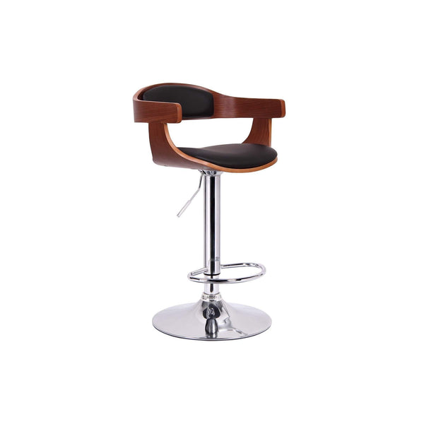 Baxton Studio Garr Walnut and Black Modern Bar Stool - SD-2178-walnut/black-PSTL-Bar Stools-Floor Mirror Gallery