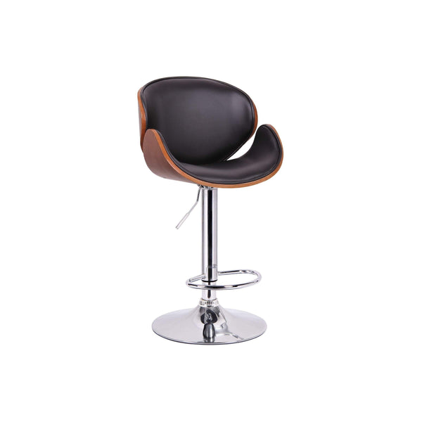 Baxton Studio Crocus Walnut and Black Modern Bar Stool - SD-2203-walnut/black-PSTL-Bar Stools-Floor Mirror Gallery