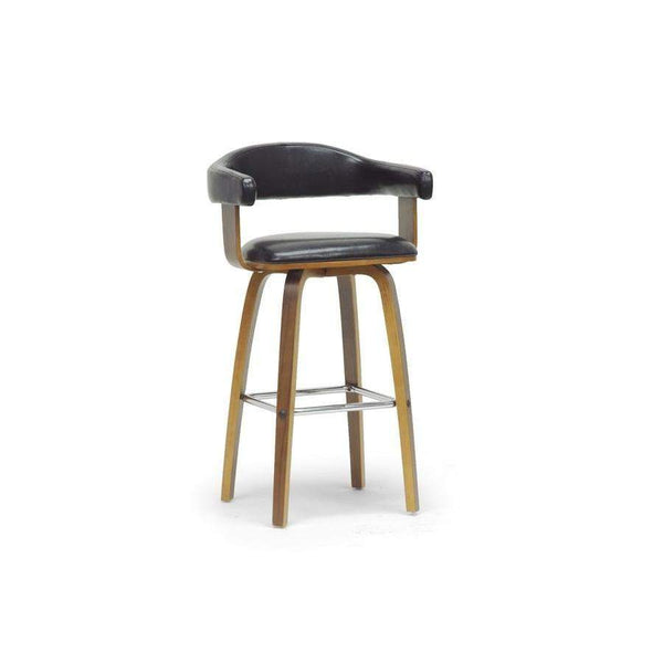 Baxton Studio Quigley Walnut and Black Modern Counter Stool - SD-2222-9 Walnut/Black-Bar Stools-Floor Mirror Gallery