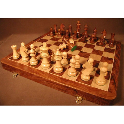 Sheesham Folding Set in Chest, Chopra, India, SH918B, by WorldWise Imports-Chess Set-Floor Mirror Gallery