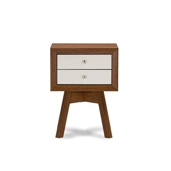 Baxton Studio Warwick Two-tone Walnut and White Modern Accent Table and Nightstand - ST-005-AT Walnut/White-Nightstands-Floor Mirror Gallery