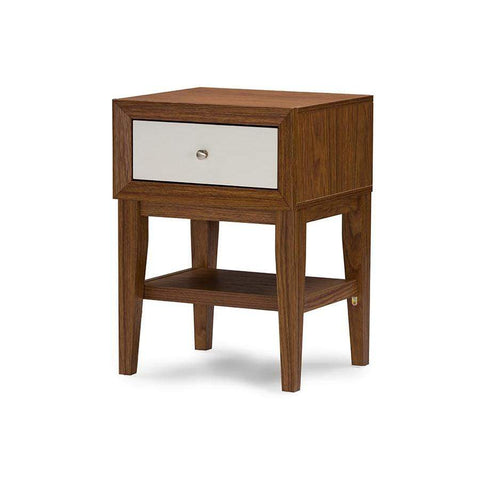Baxton Studio Gaston Two-tone Walnut and White Modern Accent Table and Nightstand - ST-007-AT Walnut/White-Nightstands-Floor Mirror Gallery