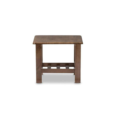 Baxton Studio Charlotte Modern Classic Mission Style Walnut Brown Wood End Table - SW3513-Walnut-M17-ET-Coffee, Accent Tables-Floor Mirror Gallery