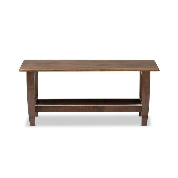 Baxton Studio Pierce Mid-Century Modern Walnut Finished Brown Wood Coffee Table - SW3656-Walnut-M17-CT-Coffee, Accent Tables-Floor Mirror Gallery