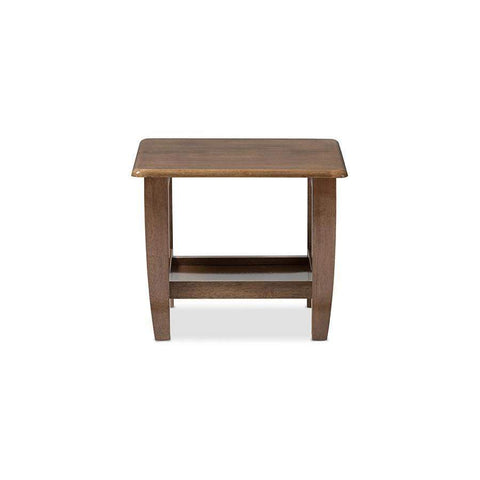 Baxton Studio Pierce Mid-Century Modern Walnut Finished Brown Wood End Table - SW3656-Walnut-M17-ET-Coffee, Accent Tables-Floor Mirror Gallery