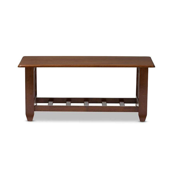 Baxton Studio Larissa Modern Classic Mission Style Cherry Finished Brown Wood Living Room Occasional Coffee Table - SW5218-Cherry-TS2-CT-Coffee, Accent Tables-Floor Mirror Gallery