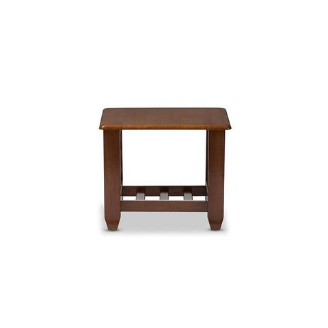 Baxton Studio Larissa Modern Classic Mission Style Cherry Finished Brown Wood Living Room Occasional End Table - SW5218-Cherry-TS2-ET-Coffee, Accent Tables-Floor Mirror Gallery