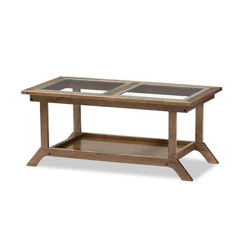 "Baxton Studio Cayla Mid-Century Modern ""Walnut"" Brown Wood Living Room Glass-Top Coffee Table - SW5236-Walnut-M17-CT-Coffee, Accent Tables-Floor Mirror Gallery"