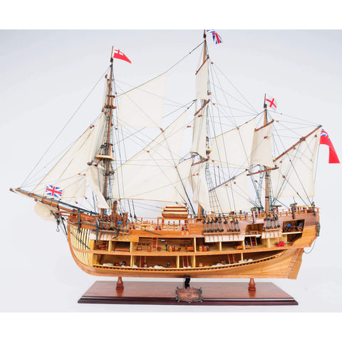 HMS ENDEAVOUR OPEN HULL Model T275 by Old Modern Handicrafts-Models-Floor Mirror Gallery