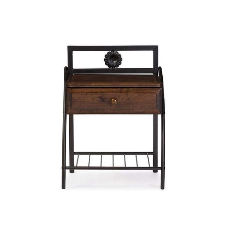 Baxton Studio Jevenci Vintage Industrial Black Finished Metal Nightstand - TS7001-Black-Nightstands-Floor Mirror Gallery