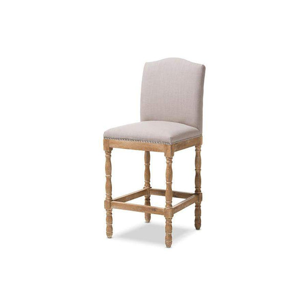 Baxton Studio Paige French Vintage Cottage Weathered Oak Finish Wood and Beige Fabric Upholstered Bar Stool - TSF-630-28-Beige-CS-Bar Stools-Floor Mirror Gallery