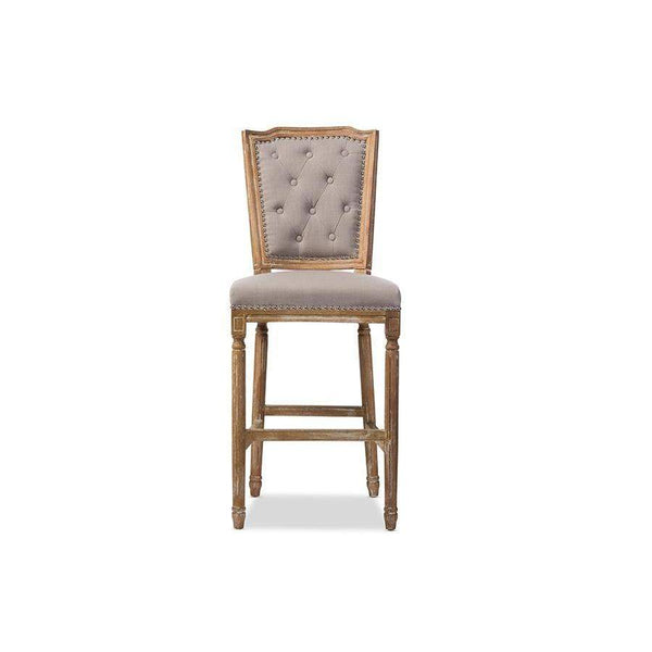 Baxton Studio Julie French Vintage Cottage Weathered Oak Beige Fabric Upholstered Barstool - TSF-9346-Bar Stools-Floor Mirror Gallery