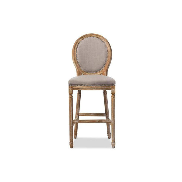 Baxton Studio Louis French Vintage Cottage Weathered Oak Beige Fabric Upholstered Barstool - TSF-9347-Bar Stools-Floor Mirror Gallery