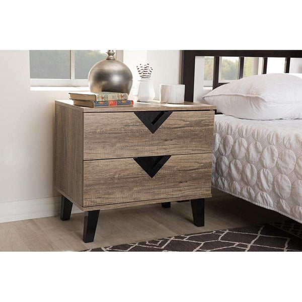 Baxton Studio Swanson Modern and Contemporary Light Brown Wood 2-Drawer Nightstand - W-602A-Nightstands-Floor Mirror Gallery