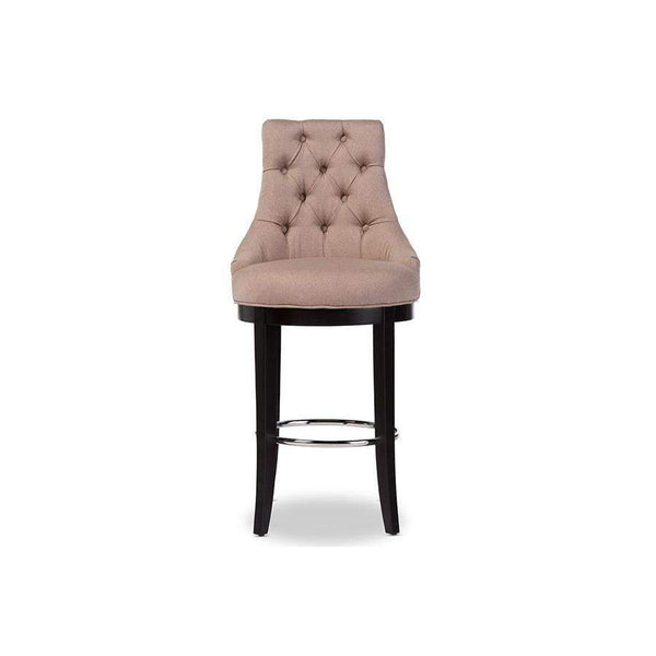 Baxton Studio Harmony Modern and Contemporary Button-tufted Beige Fabric Upholstered Bar Stool with Metal Footrest - WS-2076-Beige-Bar Stools-Floor Mirror Gallery
