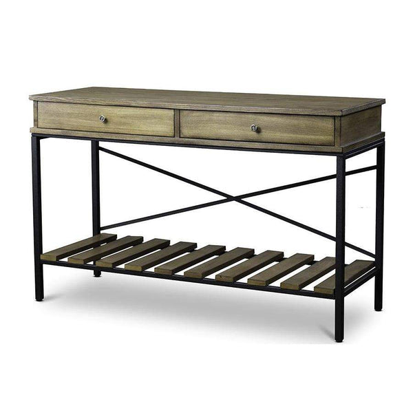 Baxton Studio Newcastle Wood and Metal Console Table—Criss-Cross - YLX-0003-AT-Console Tables-Floor Mirror Gallery
