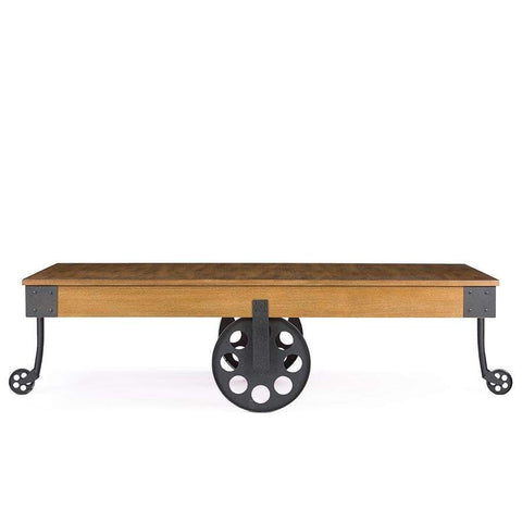 Baxton Studio Lancashire Brown Wood & Metal Coffee Table - YLX-0007-AT-Coffee, Accent Tables-Floor Mirror Gallery