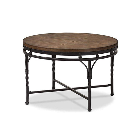 Baxton Studio Austin Vintage Industrial Antique Bronze Round Coffee Cocktail Occasional Table - YLX-2687-CT-Coffee, Accent Tables-Floor Mirror Gallery